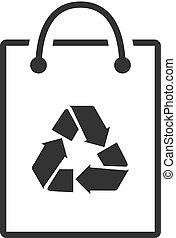 シンボル, -, 袋, ペーパー, bw, リサイクルしなさい, アイコン