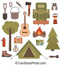 シンボル, 装置, セット, キャンプ, アイコン