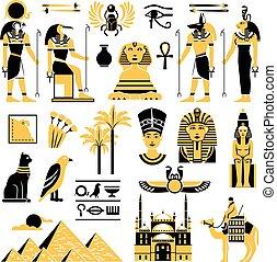 シンボル, 装飾用のアイコン, セット, エジプト