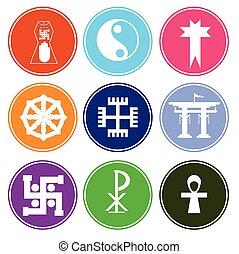 シンボル, 象徴的, 宗教, カラフルである