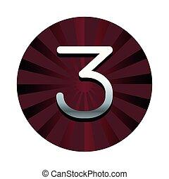 シンボル, 赤, 3, ラウンド, 数