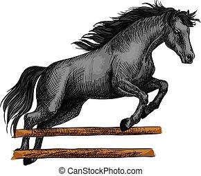 シンボル, 跳躍, スポーツ, 馬, equine, horserace