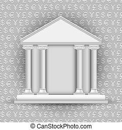 シンボル, 通貨, 銀行, 背景, アイコン