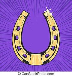 シンボル, 運, ベクトル, イラスト, 繁栄, horseshoe., 金, style., ポンとはじけなさい, ...