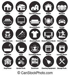 シンボル, 部屋, 家, アイコン