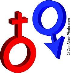 シンボル, 隔離された, 女性, 背景, 白, 3d, 人