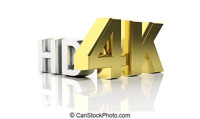 シンボル, 隔離された, hd, 金, 銀, 3d, 4k