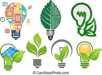 シンボル, 電球, エコロジー, ライト, アイコン