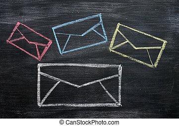 シンボル, 黒板, 図画, チョーク, 電子メール