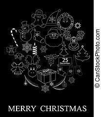 シンボル, 黒, クリスマス
