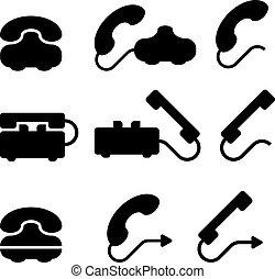 シンボル, 黒, ベクトル, 古い, 電話