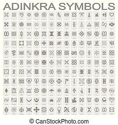 シンボル, adinkra, モノクローム, セット, アイコン