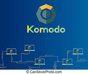 シンボル, blockchain, 回路, 背景, komodo