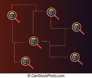 シンボル, blockchain, 拡大する, 背景, komodo