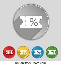 シンボル, buttons., 割引, アイコン, 印。, 切符, 平ら, 5