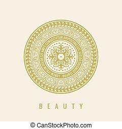 シンボル, calligraphic, ベクトル, emblem., 花, カフェ, ラウンド