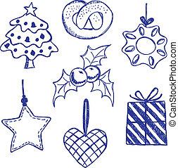 シンボル, doodles, セット, クリスマス