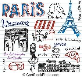シンボル, doodles, ファンキーである, フランス