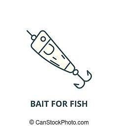 シンボル, fish, アウトライン, 線である, 概念, ベクトル, えさ, 印, 釣り, 線, スプーン, アイコン