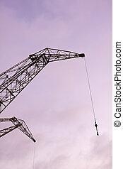 シンボル, industry., 港, 貨物, クレーン