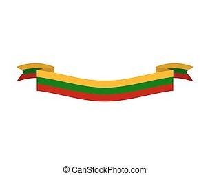 シンボル, isolated., リボン, リスアニア, banner., 州, リトアニアのフラグ