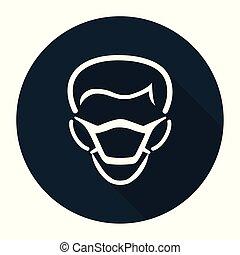 シンボル, ppe, ウエア, 印, icon., 黒い背景, マスク