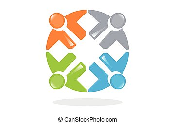 シンボル, teamwo, 接続される, 人々