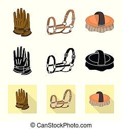 シンボル, web., コレクション, 装置, ベクトル, イラスト, 乗馬, logo., 競争, 株