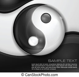 シンボル, yin, 黒, 白, yang