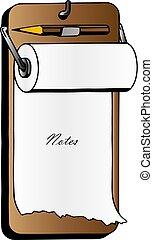 シート, クリップボード, ビジネス, ブランク, メモ用紙, ペーパー, 現実的, ベクトル, テンプレート, クリップボード, pen., 白, document.