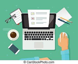 シート, 仕事, 形態, ラップトップ, 小テスト, 人, ペーパー, ベクトル, オンラインで, 調査, 文書, ...