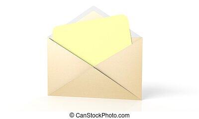 シート, 封筒, 隔離された, 黄色, ペーパー, white., ブランク, 開いた