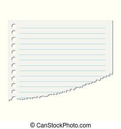 シート, illustration., 隔離された, ペーパー, バックグラウンド。, 部分, ベクトル, 白いライン