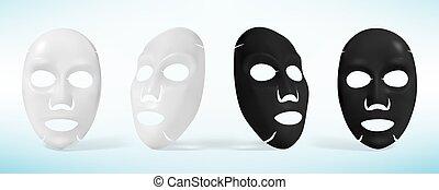 シート, masks., イラスト, ベクトル, 黒, 美顔術, 白