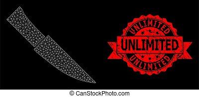 シール, ナイフ, polygonal, ネットワーク, textured, 無制限である