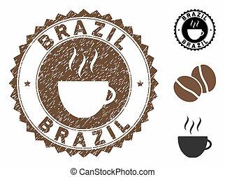 シール, 切手, コーヒー, ブラジル, グランジ, カップ, textured
