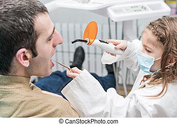 シール, 歯, 男性の 大人, 子供