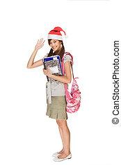 ジェスチャーで表現する, 出迎える, アジア人, 学生, 帽子, クリスマス