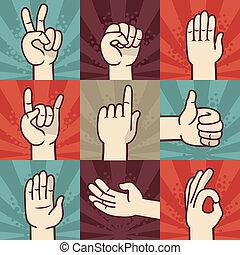 ジェスチャー, セット, ベクトル, 手