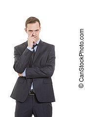 ジェスチャー, 不信の念, lies., 体, language., 人, 中に, スーツ, 隔離された, 白, バックグラウンド。, 指, 感動的である, ∥, nose., カード