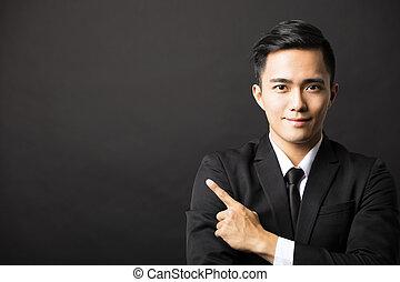 ジェスチャー, 人間が指さす, ビジネス, 若い
