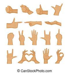 ジェスチャー, 方向, 女, ハンドル, 人間, コミュニケーション, deaf-mute, 指, イラスト, 信号, ベクトル, 指, 握りこぶし, 手, 感触, 把握, 腕