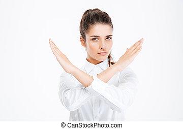 ジェスチャー, 止まれ, 女性実業家, 提示, 手, 美しい, 交差させる, 若い