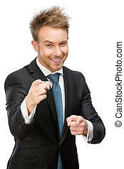 ジェスチャー, 肖像画, マネージャー, とんびが指さす