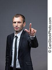 ジェスチャー, 肖像画, 経営者, 指すこと, 手