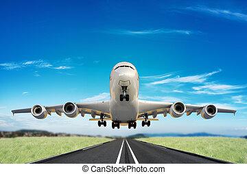 ジェット機, 滑走路, 取得, 大きい, 離れて