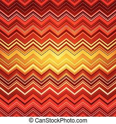 ジグザグ, ba, パターン, 抽象的, ストライプ, 曲げられた, 民族, オレンジ, 赤