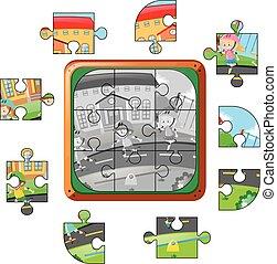 ジグソーパズル, 子供, 道, 小片