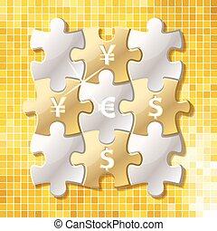 ジグソーパズル, 小片, ∥で∥, 通貨 記号