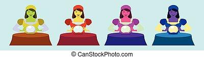 ジプシー, 運命, テーブル。, ボール, predicts, 青, 幸運, 女, イラスト, 背景, 金銭出納係, 漫画, 水晶, 女の子, 魔女, 隔離された, oracle.
